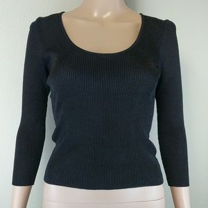 [Laundry] Black Scoopneck 3/4 Sleeve Knit Blouse